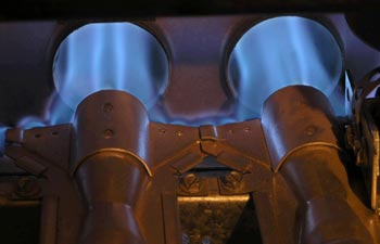 blue gas burner flame from house heater