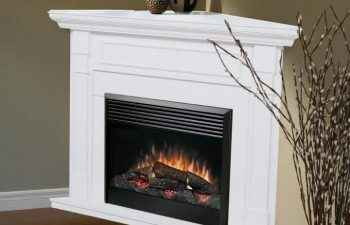 Corner Fireplace with Gas Logs